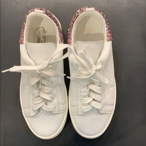 Maje Glitter tennis shoes- white with pink glitter